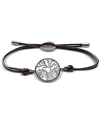 Fossil Bracelet, Streel Tree Coin Brown Leather Wrap Bracelet - Fossil - Jewelry & Watches - Macy's