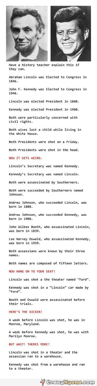 Funny coincidence history about John Kennedy and Abraham Lincoln. But Lyndon B. Johnson was president upon Kennedy's assassination, not Andrew Johnson..