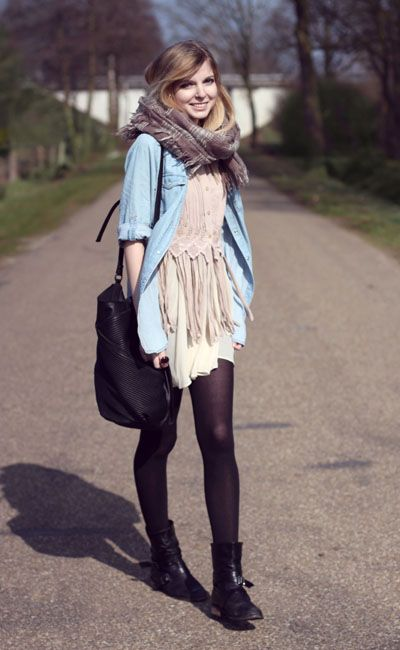 Layer button down shirts with dresses and scarves for the Fall