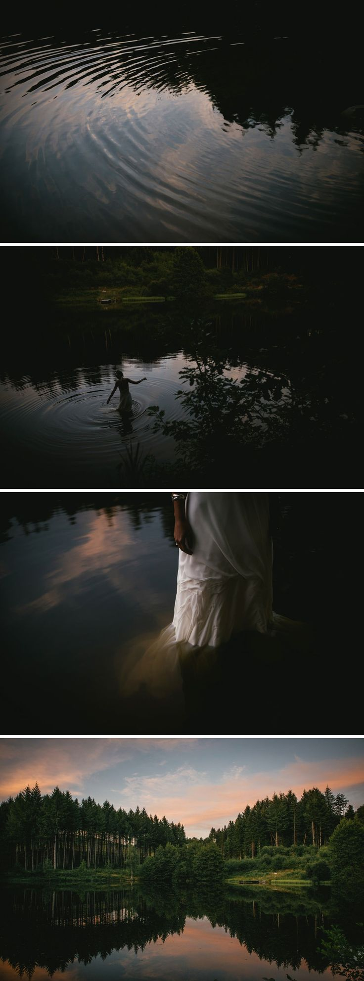 Trash the dress session in a wild lake at dawn - Central France wedding photographer - Zephyr & Luna photograhy