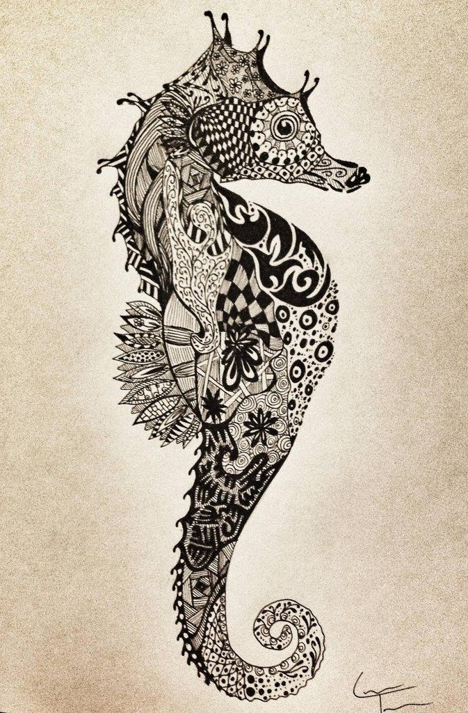 Zentangle - the art of doodling, anyone can so it! Check out this cool Seahorse zentangle #zentangle