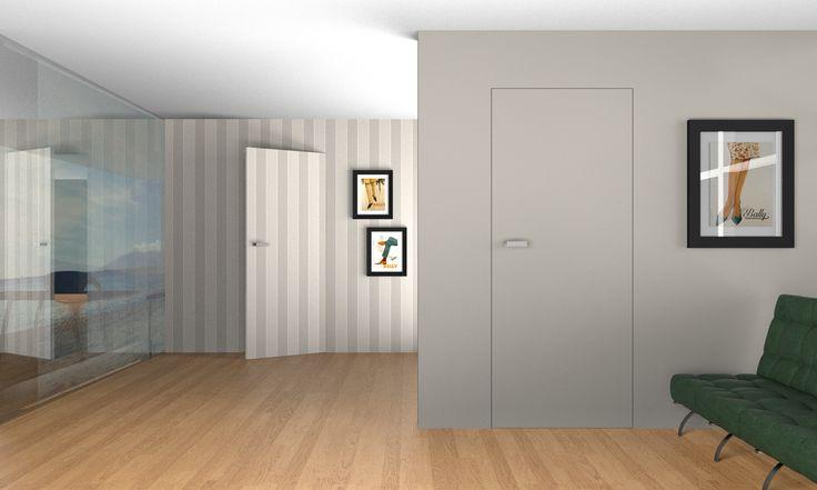 Drzwi z ukrytą ościeżnicą przygotowane do malowania lub tapetowania. / Hidden doors ready to paint or paperhanging.