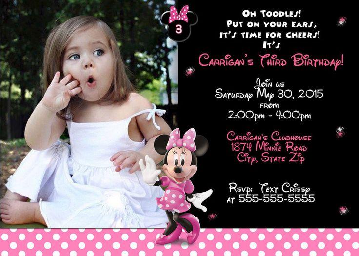 The 161 best invitations on ebay images on pinterest birthday minnie mouse pink and black birthday invitation filmwisefo