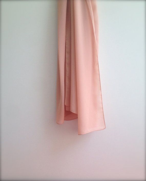 A Lovely Christmas Gift For Her !   Soft and Sheer Peach Color Chiffon Shawl   Light Long Apricot Blush Nude Scarf, Shoulder Stole or Wrap  Perfect for any Occasion, Especi...
