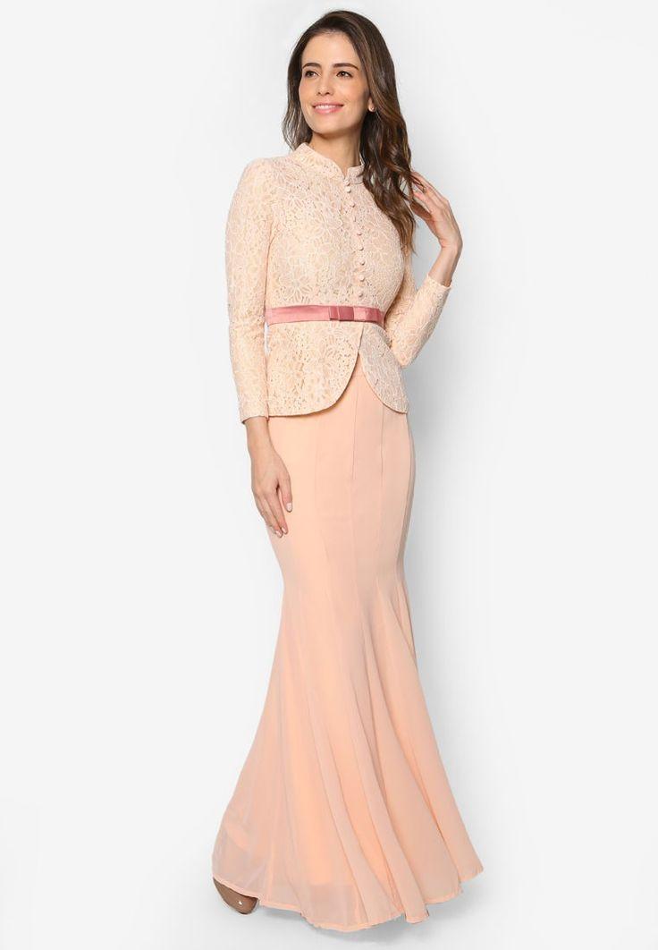 Baju Kebaya Lace with Bow Detail - Vercato Safira from VERCATO in pink_1