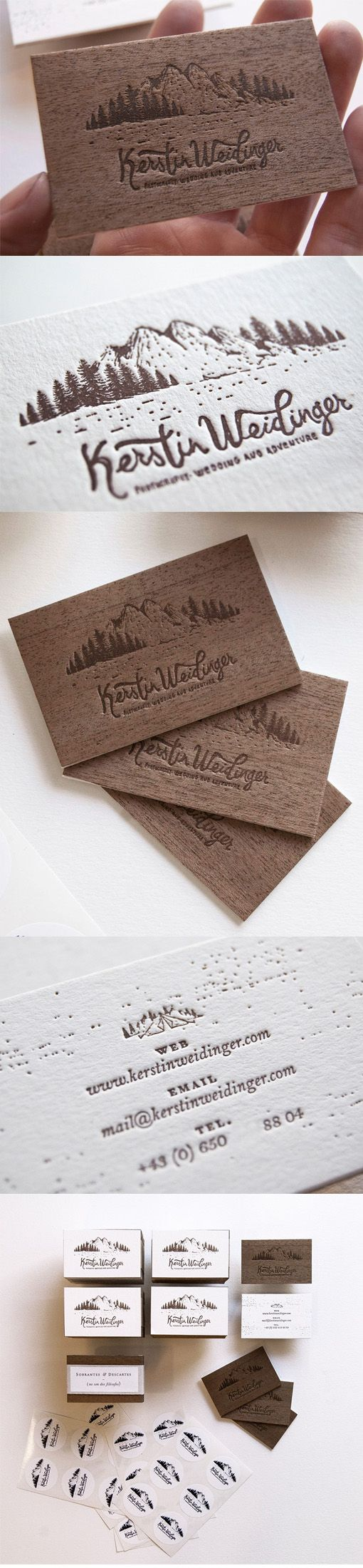 Gorgeous Letterpress Wood And Paper Business Card For A Wedding Photographer