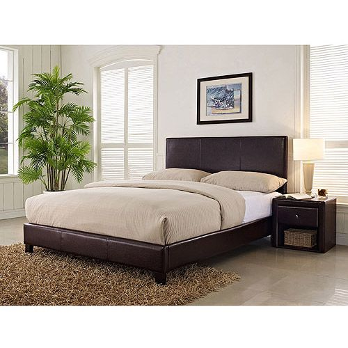 Add a simple, yet sophisticated sleeping solution to your bedroom with the Stratus California King Upholstered Faux Leather Bed, Brown. It's constructed from tropical hardwood solids with a European style bentwood slat support system for use without a box spring. It offers a low profile design combined with sleek brown faux leather upholstery on the headboard, footboard and side rails. It features a high back to accent any style of bedroom decor, * To view further for this item, visit the…