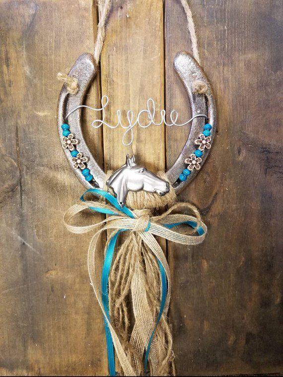 Decorated Horseshoe Personalized Gift Equestrian Gift Horseshoe