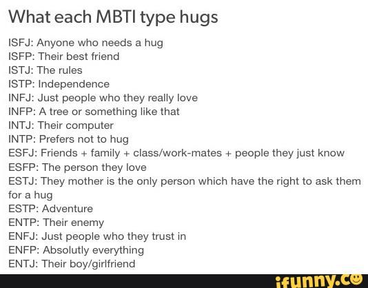 ISFJ, but I am not huggy. Unless I ever get a boyfriend or something. I will hug my future boyfriend a lot.