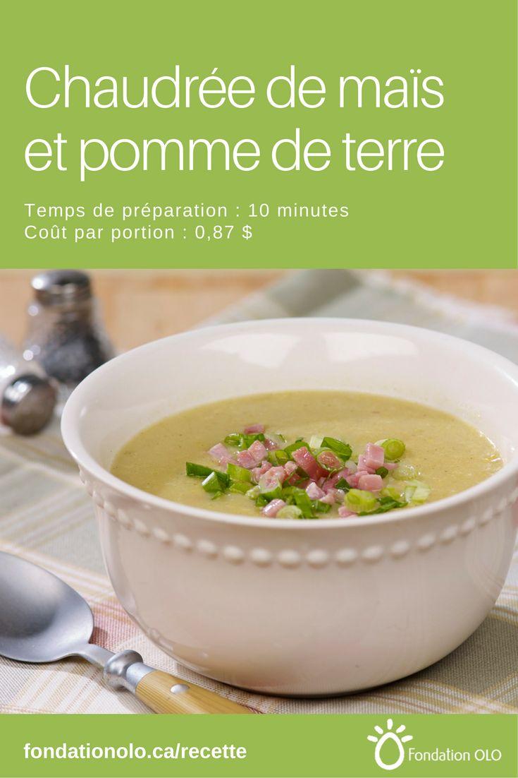 Recette d'une chaudrée de maïs et de pomme de terre, une soupe consistante et réconfortante. Seulement 0,87$ par portion.   ---  Recette facile, Recette économique, Recette rapide, Recette nutritive --- #Soupe