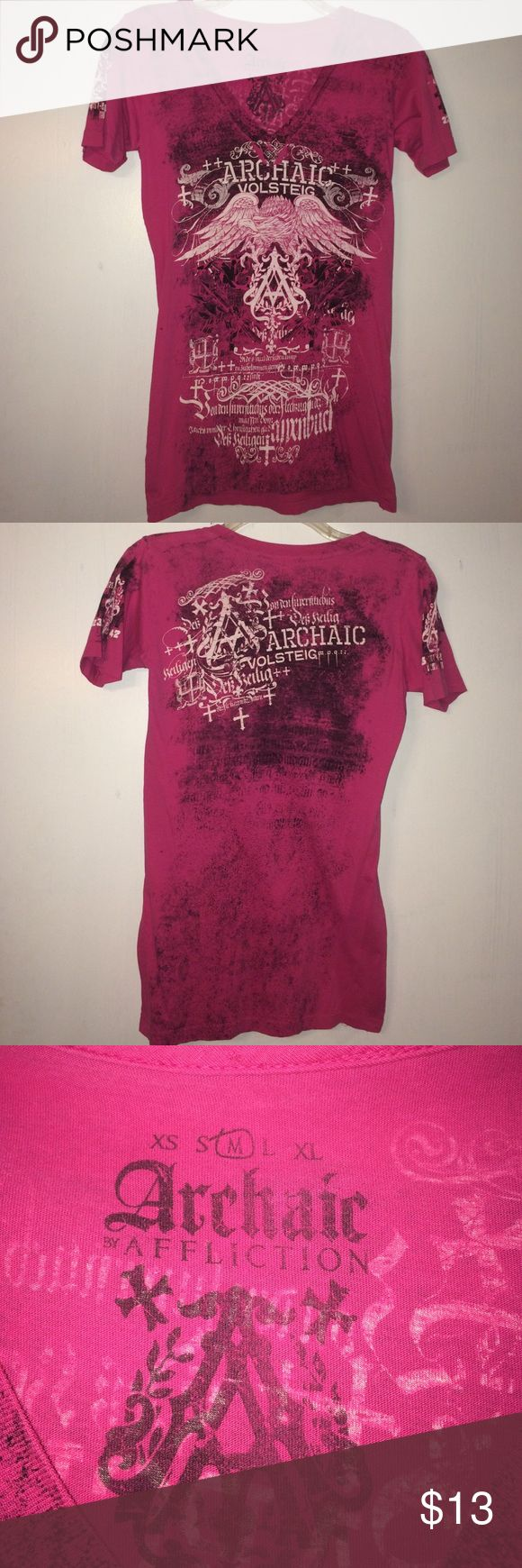 Buckle t-shirt Hot pink affliction t-shirt with black and white designs on the front, back and both sleeves. It says medium, but fits more like a small Affliction Tops Tees - Short Sleeve