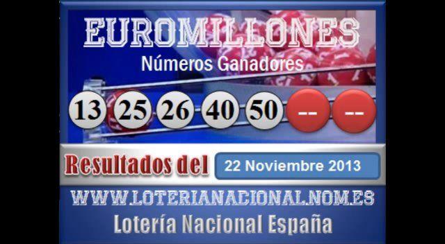 Euromillones sorteo dia Viernes 22 de Noviembre 2013. Fuente: www.loterianacional.nom.es