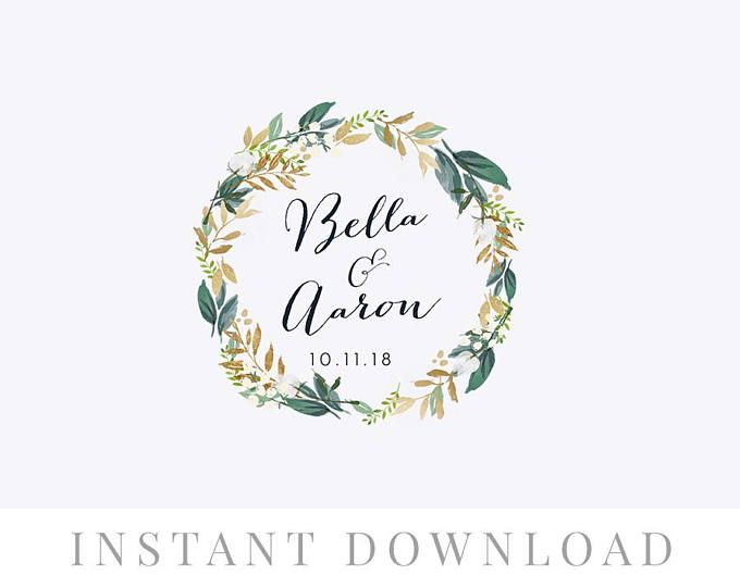 Wedding Wreath Monogram Instant Download Wedding Invite Diy Wedding Monogram Editable Monogram Weddi Wedding Logos Wedding Invitations Diy Monogram Wedding