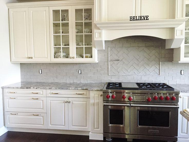 ... Granite Countertops U0026 A Light Gray Subway Tile Backsplash. Love The  Herringbone Feature Area Above The Stove. Kitchen By Stoneshop From Cherry  Hill, NJ.