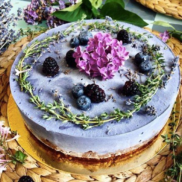 Лаванда-черника диетический торт blueberry lavendar raw vegan cake rawberry.ru