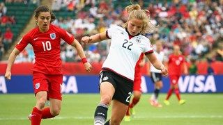 Karen Carney #10 of England defends Tabea Kemme #22 of Germany