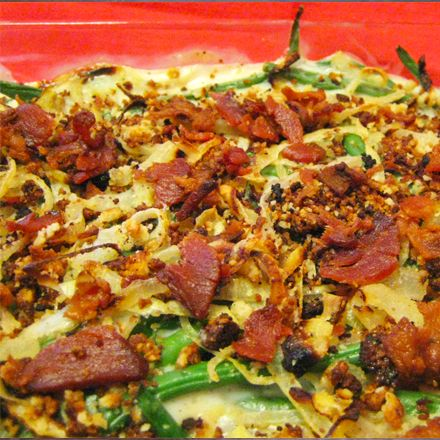 """Creamy Green Bean Casserole with Bacon and """"Fried"""" Onions"""