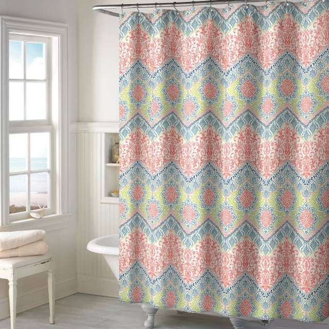 product image for New Sage Chevron Shower Curtain in Coral