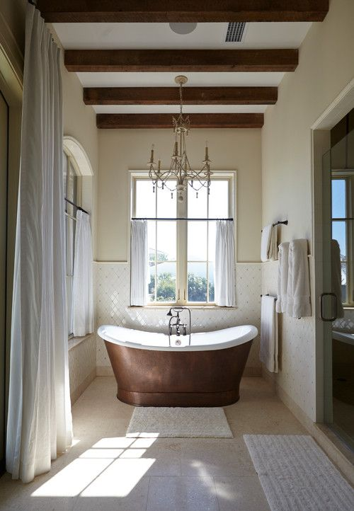 Tuscan Inspired Bathroom With Exposed Beams, Walk In Sower + Copper Soaking  Tub Part 80