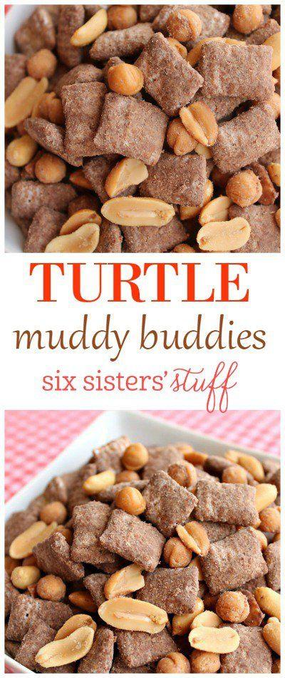 Turtle Muddy Buddies treat recipe from @sixsistersstuff