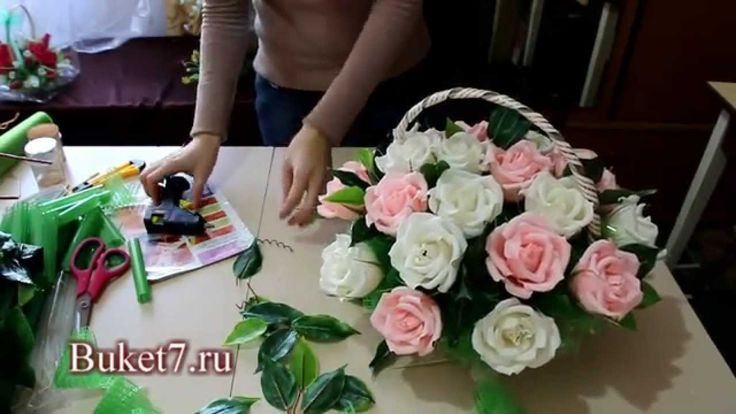 Мастер класс. Букет из конфет. Корзина с розами.