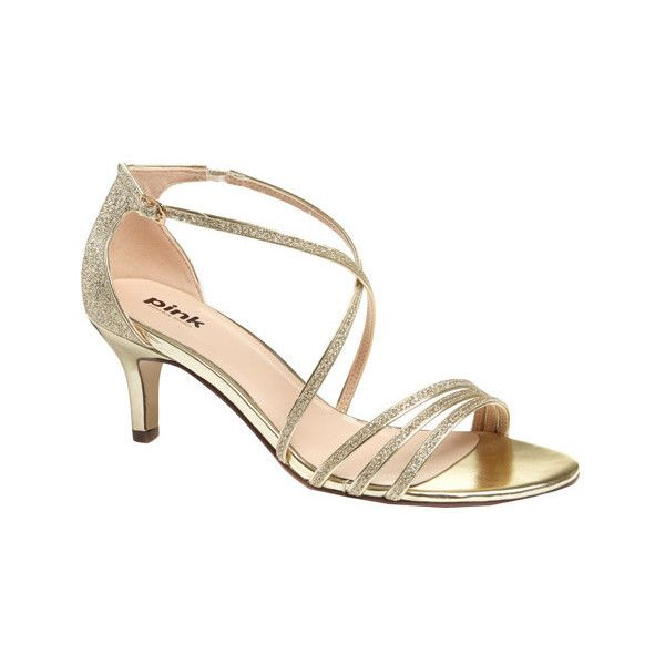 Women's Pink Paradox London Isla Sandal (€60) ❤ liked on Polyvore featuring shoes, sandals, dresses, gold, prom shoes, bridal sandals, strappy heeled sandals, metallic sandals, gold strappy sandals and mid-heel sandals