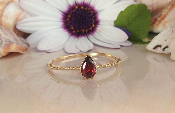 20% off-SALE Red Garnet Ring  Genuine Gemstone  by HolyLandJewelry