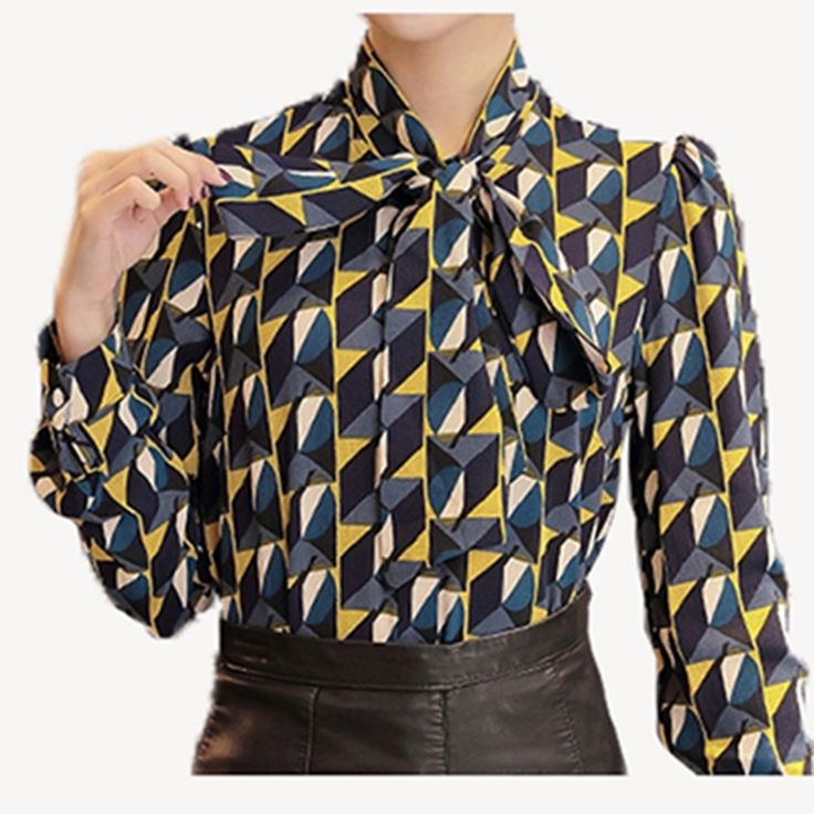 Nouveau Vêtements de Travail Bureau 2016 Chemise Femmes Tops Jaune Floral Arc Cravate Motif Imprimé Géométrique Blouse Femmes Vêtements Automne T65628R