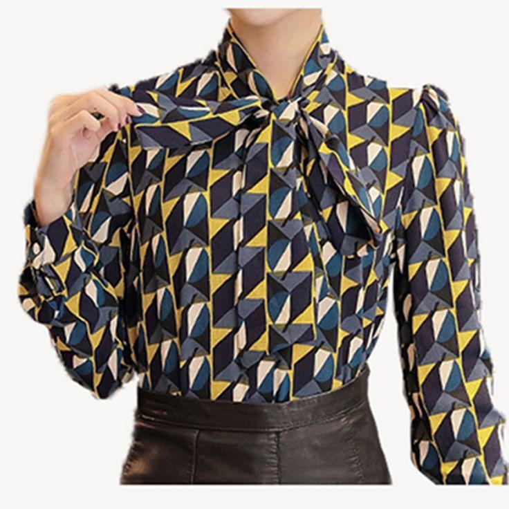新しいワークウェアオフィス2016シャツ女性トップス黄色花蝶ネクタイ柄幾何プリントブラウス女性服秋T65628R