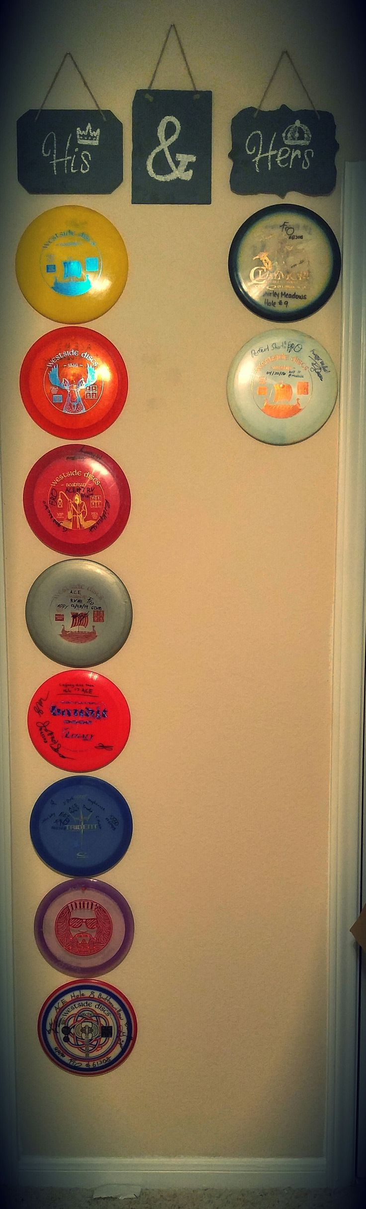 #relationshipgoals his and hers disc golf ace wall.  you can even put pictures of you two down the middle to make it extra special