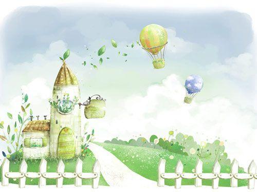 Παιδικό τοπίο με αερόστατα | Παιδικά