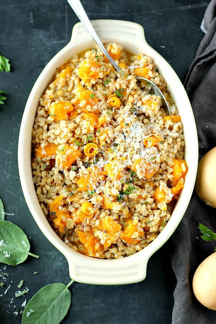 Creamy, rich and super flavorful Butternut Squash Farro Risotto, folded in butter and parmigiano, and finished with fresh sage