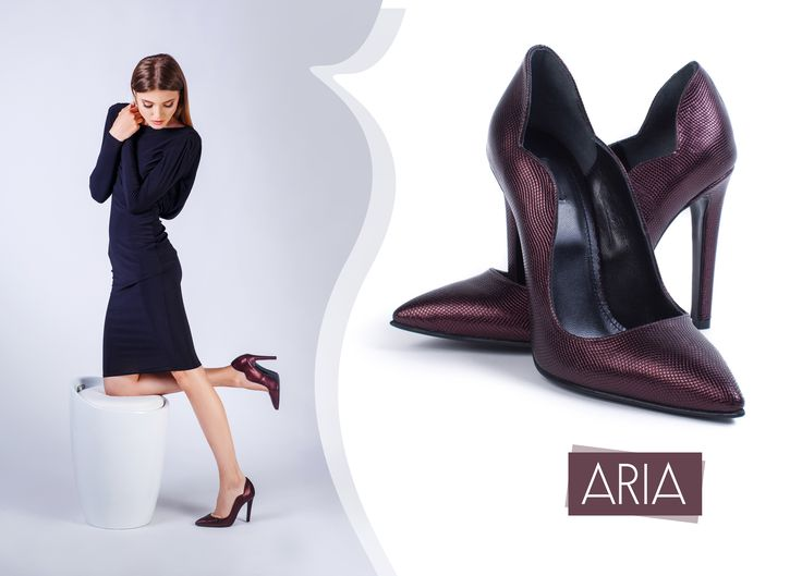 The Aria shoes in Bordeaux hues with high heels and natural leather are perfect for your attire @J