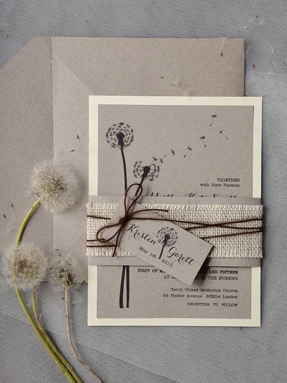 Benutzerdefinierte (20) Löwenzahn Einladung, rustikale Einladung, zum Recycling Eco Einladung, Liebe liegt in der Luft Einladung,