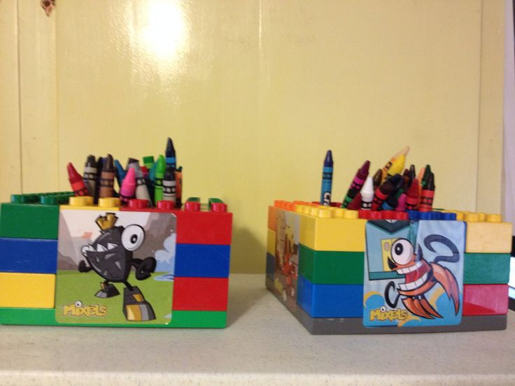 mixels birthday party crayon holder with coloring pages