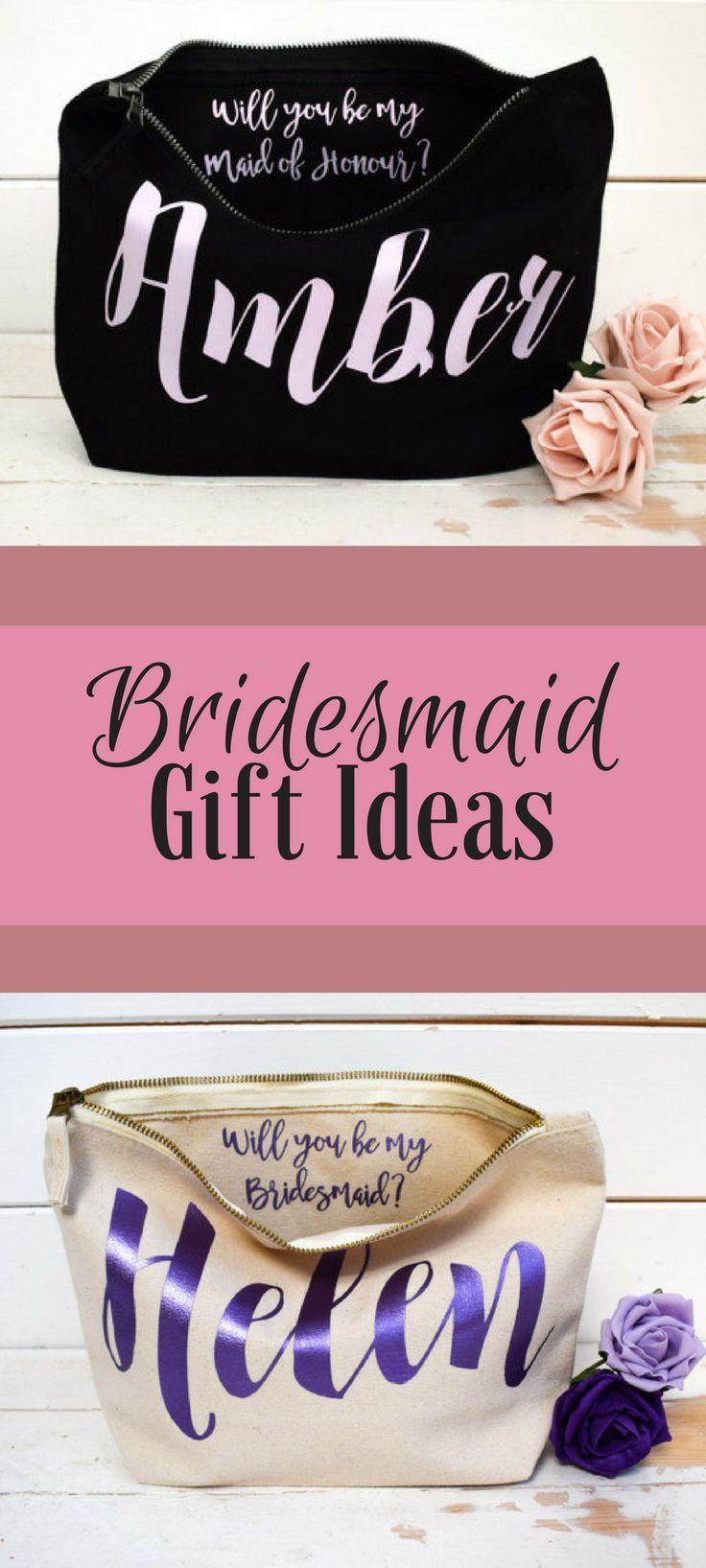 Wedding Thank you Gift - Personalised Bridesmaid Gift Make Up Bag ...