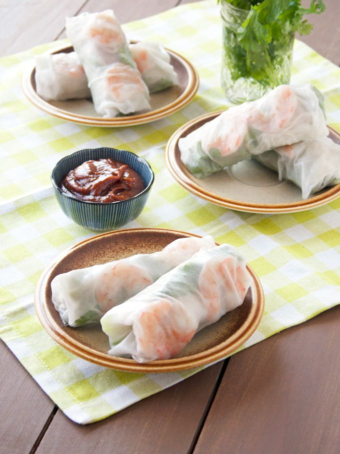 Vietnamese spring rolls, Spring rolls and Peanut dipping sauces on ...