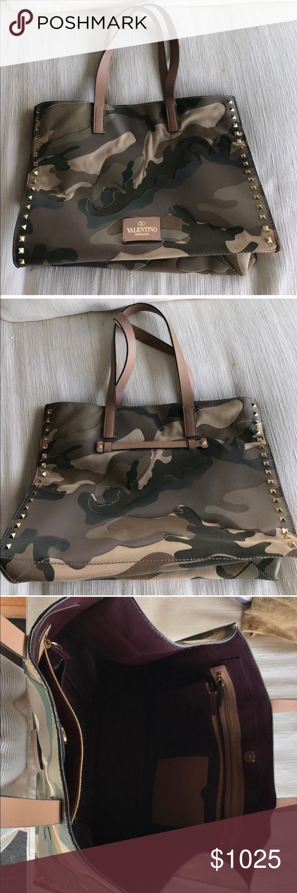 """Valentino Camo Tote. Rare find!! On Sale!! ~SOLD~  Valentino Camouflage tote bag. If you have been looking for one of these you know how hard they are to find for sale.   Great condition and the leather shows no cracks or wear marks.  Leather and canvas with gold tone studs Magnetic snap closure I have had numerous compliments.  Retail price: $2495 W 15"""", H 11"""", D 7. Valentino Garavani Bags Totes"""