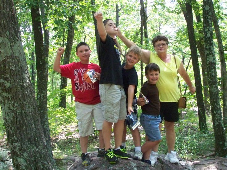 Grandma and the grand kids made it to the highest point in Missouri too.