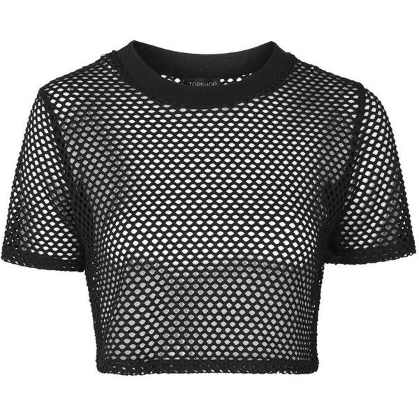 TopShop Airtex Crop Tee ($20) ❤ liked on Polyvore featuring tops, t-shirts, crop tops, tees, black, sports crop top, topshop, sport top, polyester t shirts and topshop tops