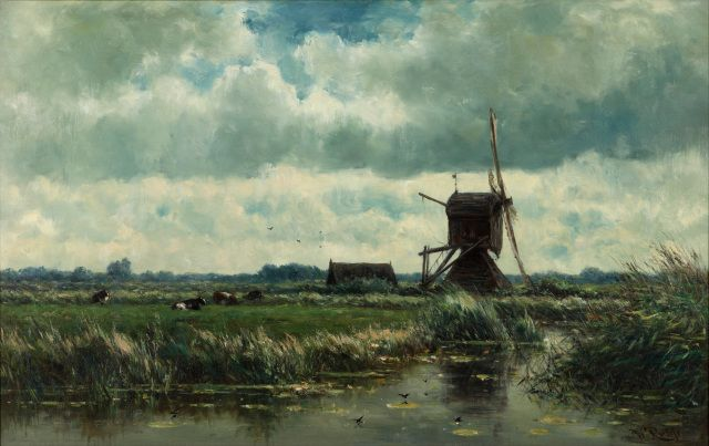 Willem_Roelofs_-_Polder_landscape_with_windmill_near_Abcoude_-_Google_Art_Project