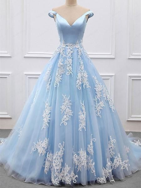 e9a6a93712e Formal Off the Shoulder Light Blue Tulle Ball Gown Prom Dress with  Appliques by fancygirldress