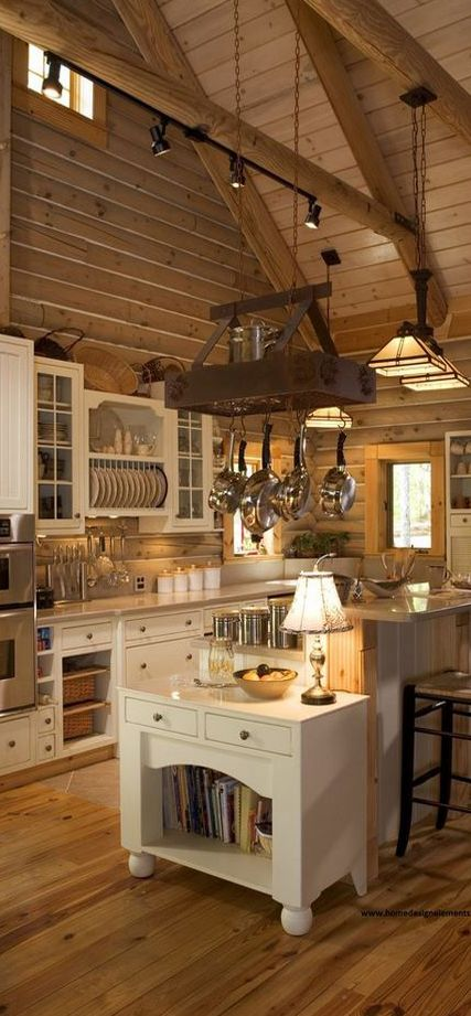 Lovely rustic kitchen. #kitchens #kitchendesigns homechanneltv.com #lovepotrack #rustic #wood #highceiling
