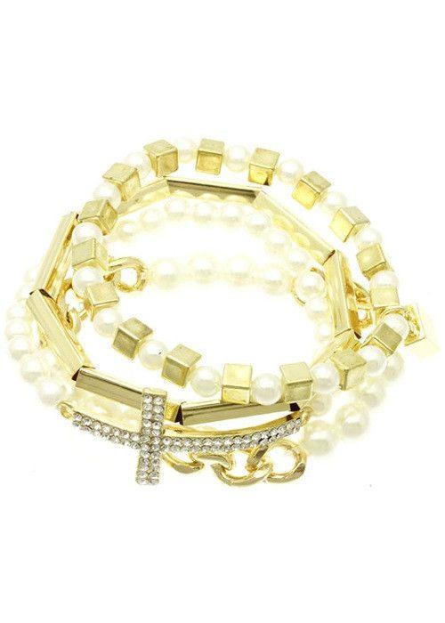 Crystal Stretch Cross Bracelet Set (Cream) – EvaMaria Boutique
