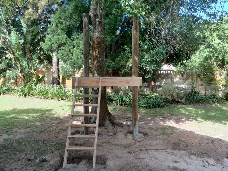 Treehouse Installation Day 2: Stairs and support beams for first level installed.