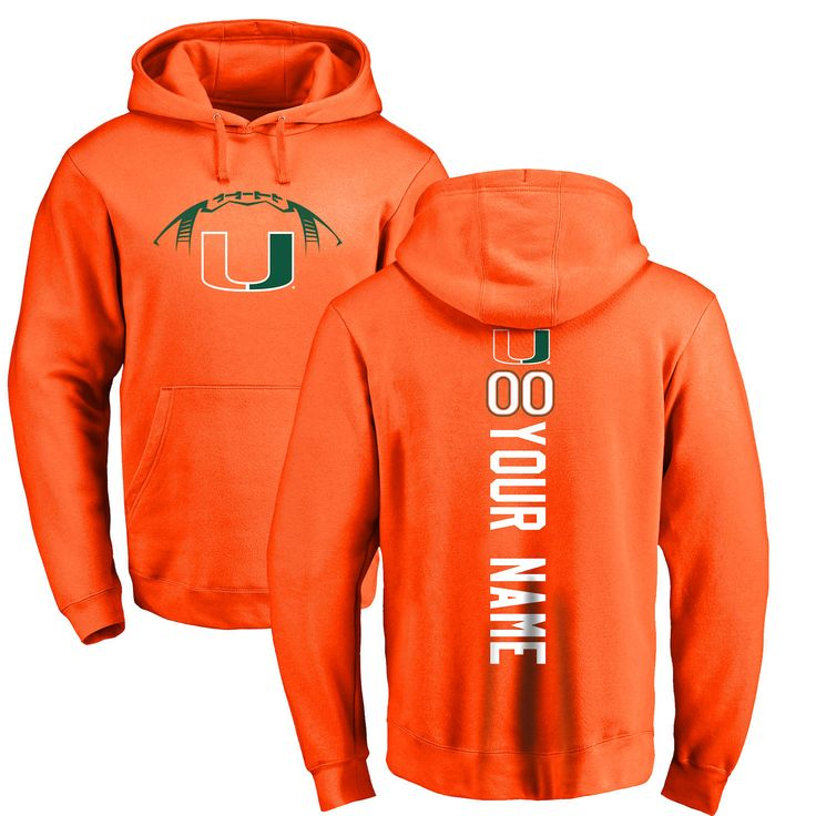 Miami Hurricanes Football Personalized Backer Pullover Hoodie - Orange - $69.99