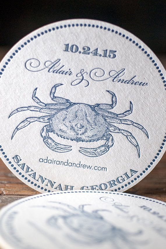 Vintage blue crab coaster wedding favor for nautical themed weddings