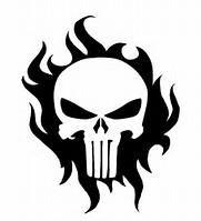 Flaming punisher skull decal