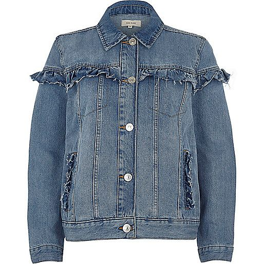 Blauwe wash denim jack met ruches - jacks - jassen / jacks - dames