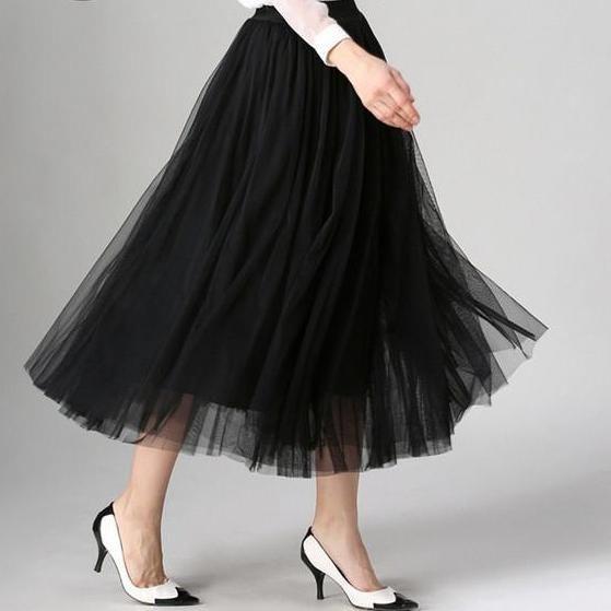 Pleated Maxi Tulle Skirts Womens Autumn Spring Summer Elegant Big Swing Long High Waist Adult Tutu